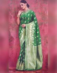 Owomaniya Green Kumud Soft Silk Saree
