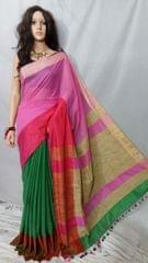 Owomaniya Pink Multicolored Cotton Silk Handloom Saree