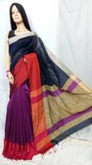 Owomaniya Navy Multicolored Cotton Silk Handloom Saree