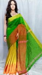 Owomaniya Green Multicolored Cotton Silk Handloom Saree