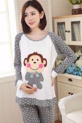 Maternity + Feeding Full Sleeve Lounge suit-Monkey