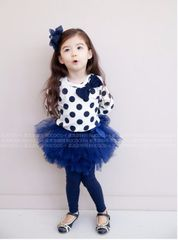 Blue Polka dot tee with tutu Culottes