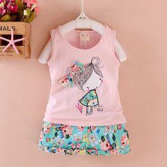 Baby Girl Printed Set - Pink