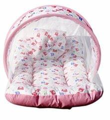 Teddy Printed Kids Gaddi With Attached Mosquito Net - Zipper