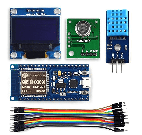 "UCTRONICS Complete ESP32 Indoor Air Quality IAQ Kit for Arduino IDE with ESP32 Development Board 0.96"" OLED Display IAQ TVOC Sensor Module DHT11 Temperature and Humidity Sensor"