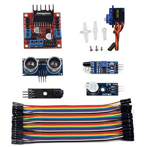 UCTRONICS 6 Sensor Modules Smart Car Kit HC-SR04 L298N Motor Driver Board Active Buzzer Infrared Obstacle Avoidance Sensor 40 Pin 10cm Dupont Cable for Arduino Raspberry Pi
