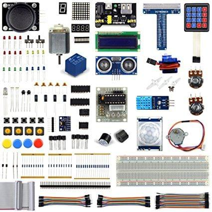 UCTRONICS Ultimate Starter Learning Kit for Raspberry Pi 3 w/ Tutorial, ADXL345, GPIO Cable, DC Motor, HC-SR04 Ultrasonic Distance Sensor, LED Displays (205 items)