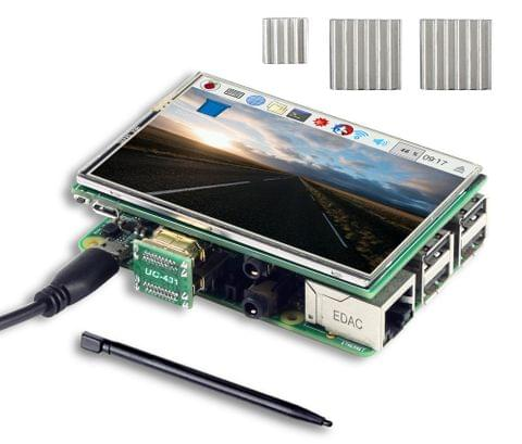 UCTRONICS 3.5 Inch HDMI TFT LCD Display with Touch Screen, Touch Pen, 3 Heat Sinks for Raspberry Pi 3 Model B, Pi 2 Model B, Pi B+