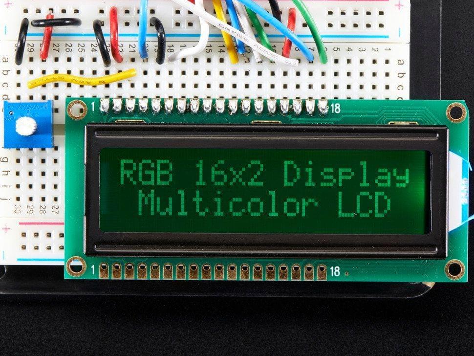 RGB backlight negative LCD 16x2 + extras - RGB on black