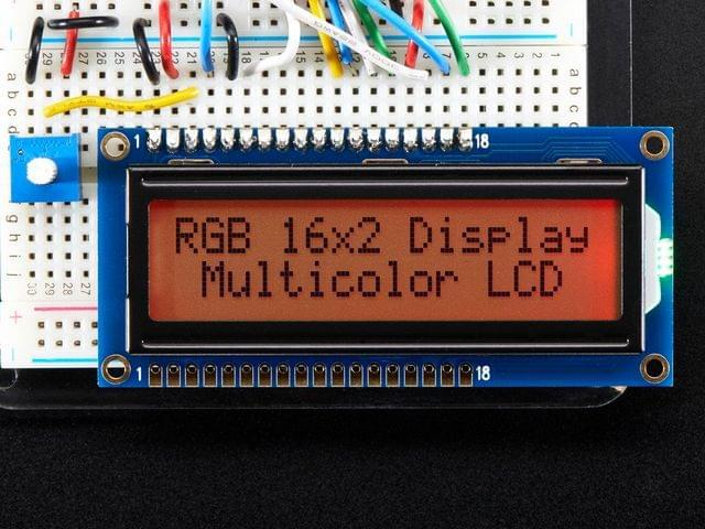 RGB backlight positive LCD 16x2 + extras - black on RGB