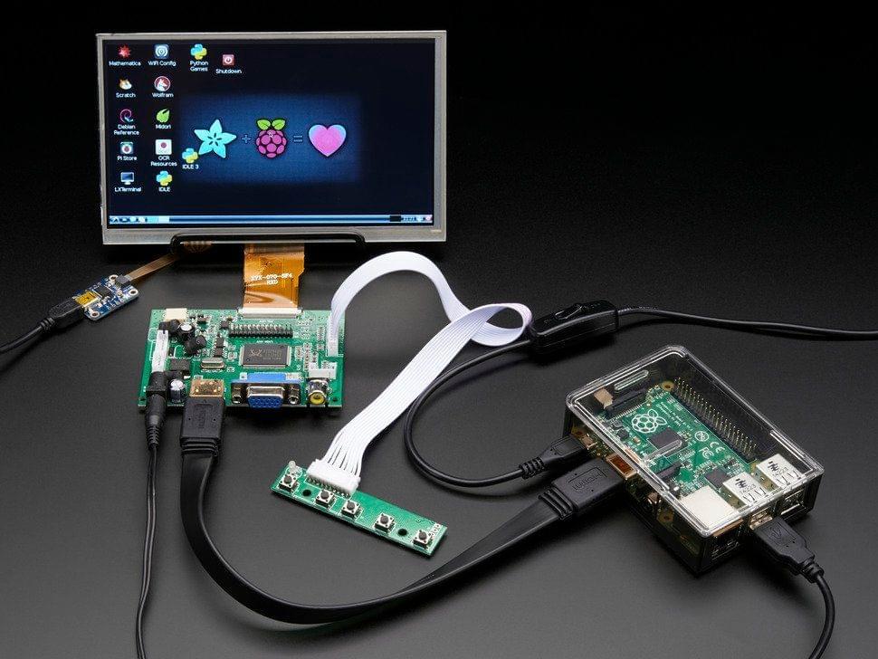 "HDMI 4 Pi: 7"" Display w/Touchscreen 1024x600- HDMI/VGA/NTSC/PAL"