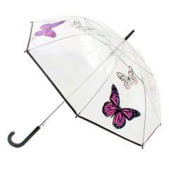 Damen Regenschirm, durchsichtig, mit Schmetterling-Design, automatisch zu öffnen