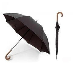 Herren Regenschirm mit Holzgriff, automatisch, schwarz
