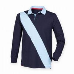 Front Row Herren Poloshirt / Sweatshirt mit diagonalem Streifen, Langarm