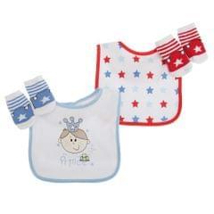 Baby Geschenk-Set mit Lätzchen und Socken, Motiv Little Prince / Princess, 4-teilig