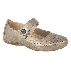 Boulevard Damen Sommer Mary-Jane-Schuhe mit Lochmuster und Klettverschluss, weite Passform