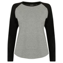 Skinni Fit Damen Baseball T-Shirt, langärmlig