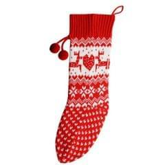 Christmas Shop Nikolausstrumpf mit Norwegermuster, gestrickt
