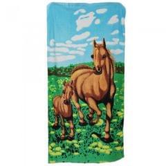 Velours Badetuch / Beach-Handtuch / Strandtuch mit Motiv Pferd und Fohlen