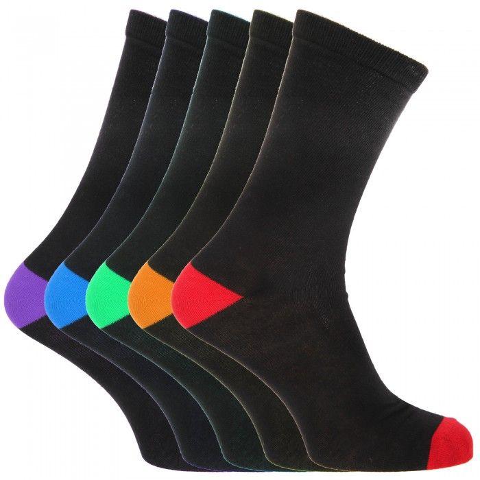 FLOSO Herren Socken mit buntem Fersen- und Zehenbereich, 5 Paar
