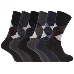 Herren Socken mit Rautenmuster, 6er-Pack