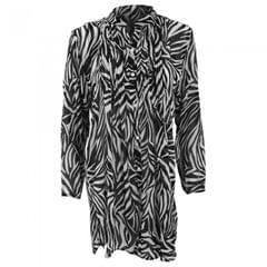 Damen Button Up Chiffon Cover Up Beach Shirt Zebra Print