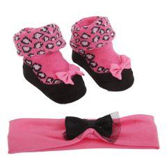 Baby Mädchen Socken mit Leopard Muster und Stirnband