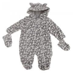 Baby Schneeanzug mit Kapuze und Knöpfen, Schneeleopard