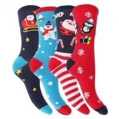 FLOSO Damen Weihnachten Charakter Design Socken (4 Paar)