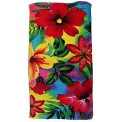 Velours Badetuch / Beach-Handtuch / Strandtuch mit Blumen-Motiv