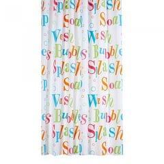 Waterline Duschvorhang mit Aufhängeringen, Design Aufschrift Splash