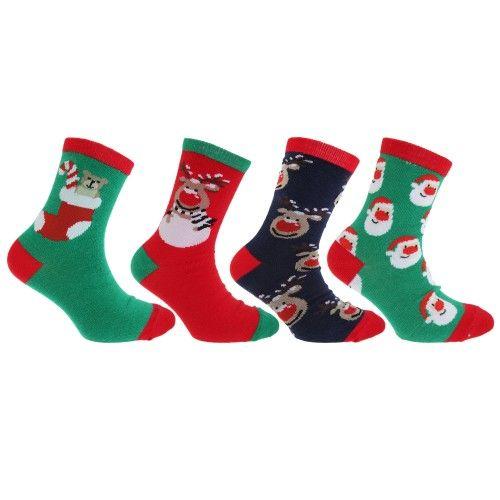 FLOSO Kinder Socken mit weihnachtlichem Motiv (4er Pack)