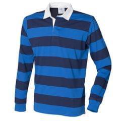 Front Row Herren Rugby Polo-Shirt, gestreift, Langarm