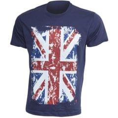 Herren Freizeit T-Shirt mit Union-Jack-Aufdruck, kurzärmlig, 100% Baumwolle