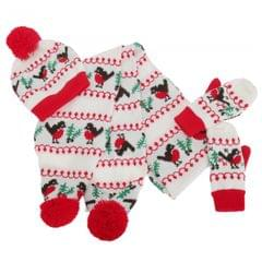 Floso Damen Winter-Set bestehend aus Mütze, Schal und Fäustlingen mit weihnachtlichem Muster