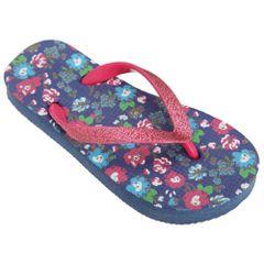 FLOSO Kinder/Mädchen Floral Flip Flops mit Glitterriemen