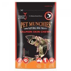 Pet Munchies mittelgroße Hunde-Kauleckerli aus natürlicher Lachshaut