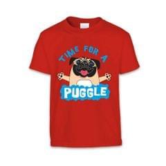 The T-Shirt Factory Kinder T-Shirt mit Aufschrift Time For A Puggle und Mops-Motiv
