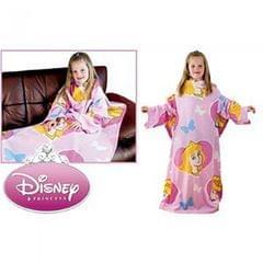 Kinder Mädchen Disney Prinzessin Fleece Kuschel Decke mit Ärmeln