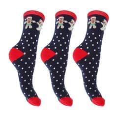 FLOSO Damen Weihnachtssocken, verschiedene Designs, 3er-Pack