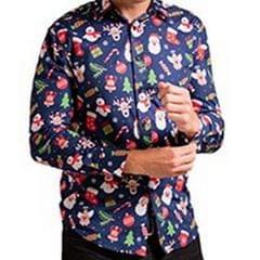Christmas Shop Herren Hemd mit weihnachtlichem Aufdruck