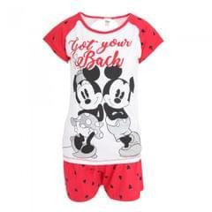 Disney Damen Pyjama mit Mickey und Minnie Maus Design