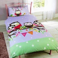 Kinder Mädchen Bettwäsche-Set mit Eulen-Design, Einzelbett