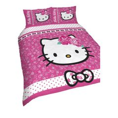Hello Kitty - Parure réversible pour lit simple ou double
