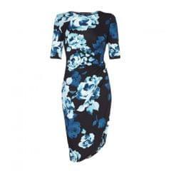 Yumi Damen Blumenkleid mit 3/4-Ärmeln, gerafftes Design