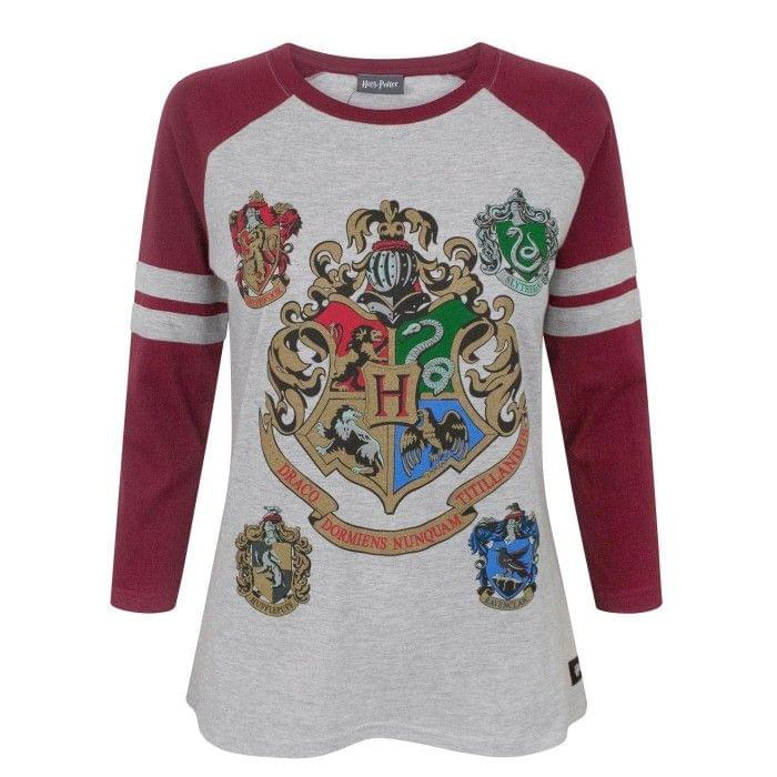 Harry Potter Damen Hogwarts Raglan-Top