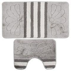 Badematten- und WC-Vorleger-Set mit Streifen und Blumen-Design, 2-teilig
