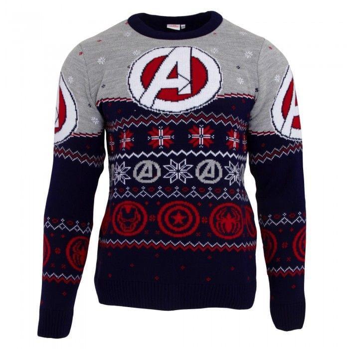 Marvel Avengers Unisex Weihnachtspullover mit Logo, gemustert