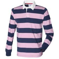 Front Row Mens Striped Sports Rugby Polo Shirt