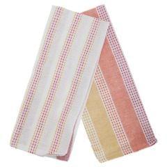 Woven Stripe Pattern Tea Towel/Dish Towel Set (Pack Of 2)